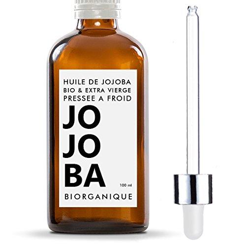 Aceite de Jojoba - 100 % Orgánico, Puro, Natural y Prensado en Frío - 100 ml - para el cuidado del cabello, cuerpo, piel - Ecologico