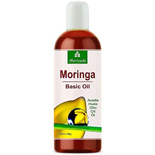 Aceite de Moringa Basic 100ml de MoriVeda, prensado de Oleifera Seeds and Pods, adecuado para el cuidado de la piel, cuidado del cabello, cuidado de heridas, antienvejecimiento