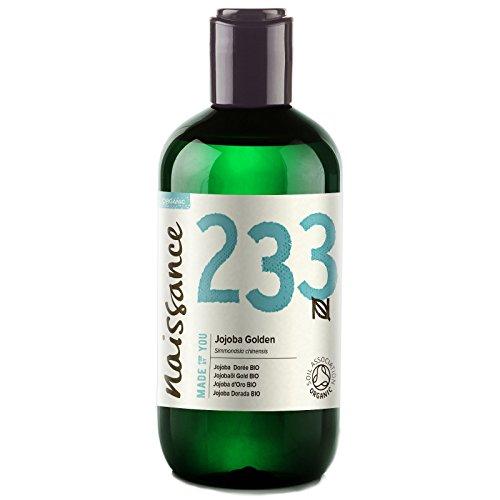 Aceite Vegetal de Jojoba Dorada BIO n. º 233 - 250ml - Puro, natural, certificado ecológico, prensado en frío, vegano, sin hexano y no OGM - Humecta y equilibra la piel.